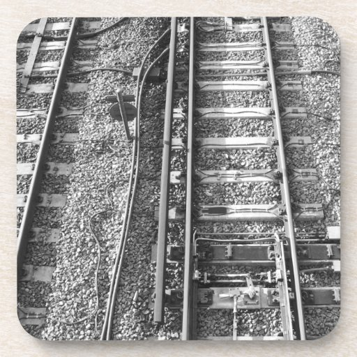 Railroad Tracks, Black and White Picture. Coasters