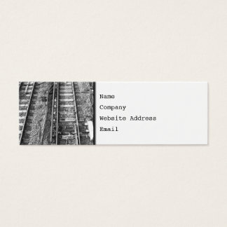 Railroad Tracks, Black and White Picture. Mini Business Card