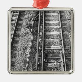 Railroad Tracks, Black and White Picture. Square Metal Christmas Ornament
