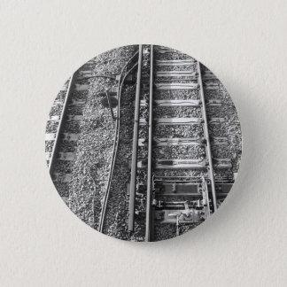 Railroad Tracks, Black and White Picture. Pinback Button