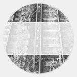 Railroad Tracks, Black and White Picture. Round Sticker