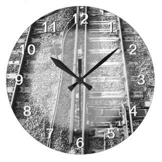 Railroad Tracks, Black and White Picture. Wall Clock
