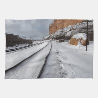 Railroad tracks in the valley kitchen towel