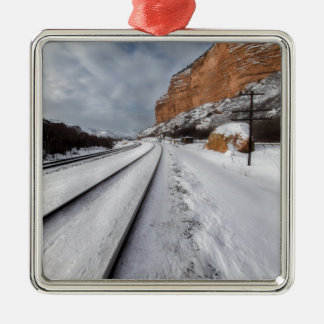 Railroad tracks in the valley metal ornament