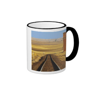 Railroad tracks lead to old granary at Collins Ringer Coffee Mug