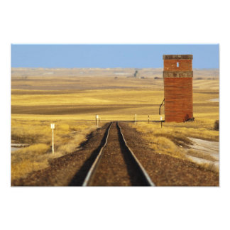 Railroad tracks lead to old granary at Collins Photographic Print
