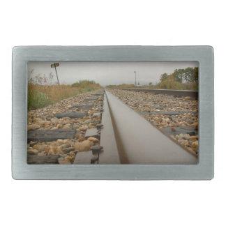 Railroad Tracks on a Rainy Day Belt Buckles