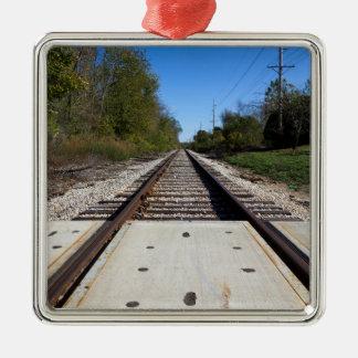Railroad Tracks Photo on Square Ornament