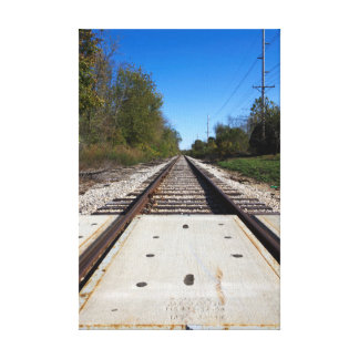 Railroad Tracks Photo Stretched Canvas Print 2