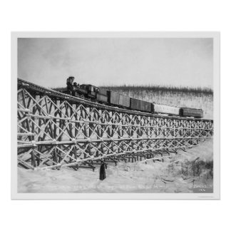 Railroad Train Bridge Alaska 1916 Poster