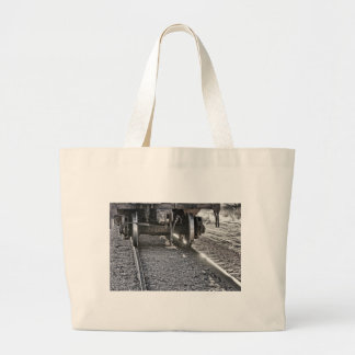 Railroad Train Car Wheels Hitting the Tracks Canvas Bags