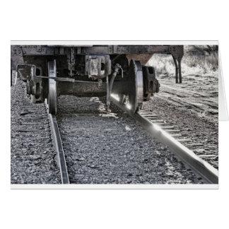 Railroad Train Car Wheels Hitting the Tracks Card