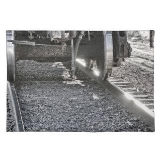 Railroad Train Car Wheels Hitting the Tracks Cloth Placemat