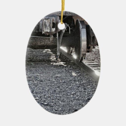 Railroad Train Car Wheels Hitting the Tracks Ornament