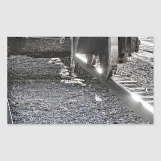 Railroad Train Car Wheels Hitting the Tracks Rectangular Sticker