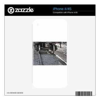 Railroad Train Car Wheels Hitting the Tracks Decal For iPhone 4S