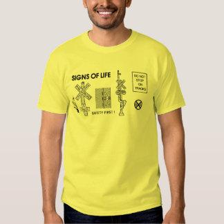 Railroad Train Crossing Lifesaving Signs Mens Shirt