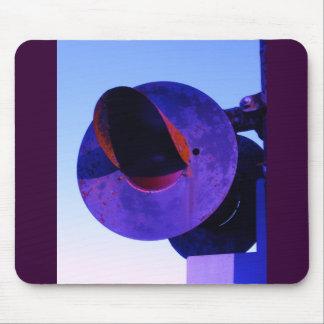 Railroad train crossing signal in purple mouse pad