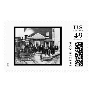 Railroad Train Crowd at Hanover Junction, PA 1863 Postage