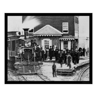 Railroad Train Crowd at Hanover Junction, PA 1863 Poster