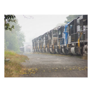 Railroad Train Locomotives In The Mist Posters