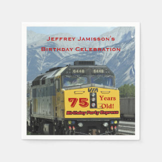 Railroad Train Paper Napkins, 75th Birthday Paper Napkin