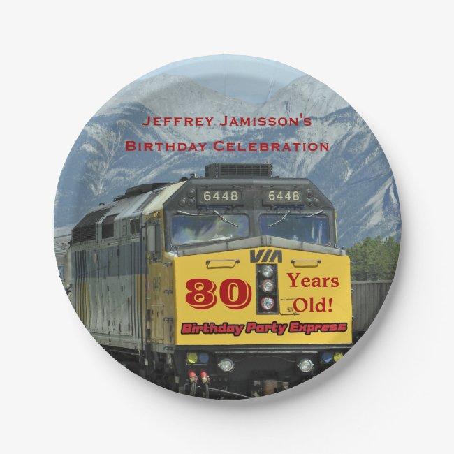 Railroad Train Paper Plates, 80th Birthday, Custom