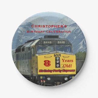 Railroad Train Paper Plates, 8th Birthday, Custom Paper Plate