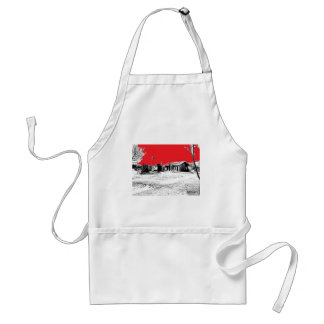 Railroad Train Station with Red Sky Adult Apron