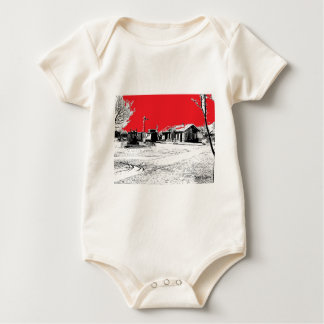 Railroad Train Station with Red Sky Baby Bodysuit