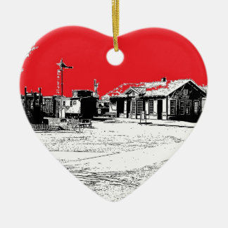 Railroad Train Station with Red Sky Ceramic Ornament