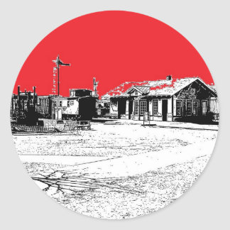 Railroad Train Station with Red Sky Classic Round Sticker