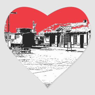 Railroad Train Station with Red Sky Heart Sticker