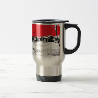 Railroad Train Station with Red Sky 15 Oz Stainless Steel Travel Mug