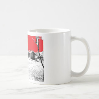 Railroad Train Station with Red Sky Classic White Coffee Mug