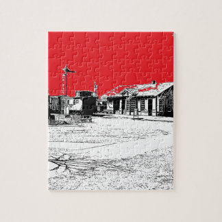 Railroad Train Station with Red Sky Jigsaw Puzzle