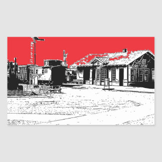 Railroad Train Station with Red Sky Rectangular Sticker