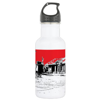 Railroad Train Station with Red Sky Stainless Steel Water Bottle