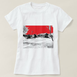 Railroad Train Station with Red Sky T-Shirt