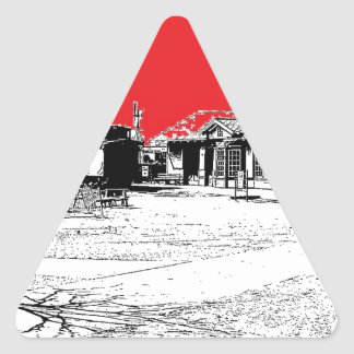 Railroad Train Station with Red Sky Triangle Sticker