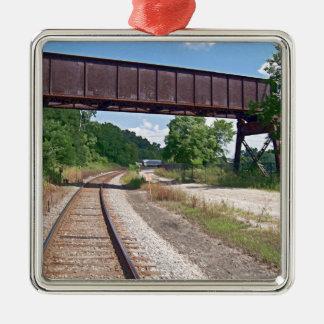 Railroad Train Tracks And Trestle Metal Ornament