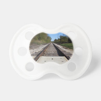 Railroad Train Tracks Photo Pacifier