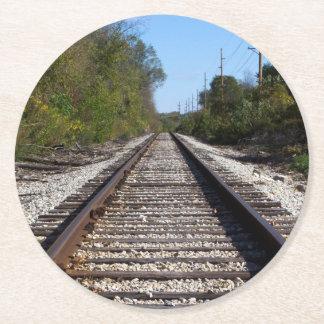 Railroad Train Tracks Photo Round Paper Coaster