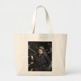 Railroad Wiper Woman, 1940s Large Tote Bag