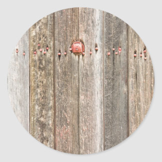 Railroad Wood Texture and Red Bolts Classic Round Sticker