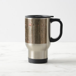 Railroad Wood Texture and Red Bolts Travel Mug
