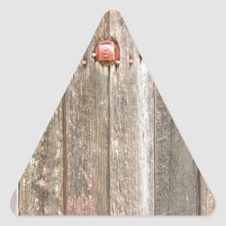 Railroad Wood Texture and Red Bolts Triangle Sticker