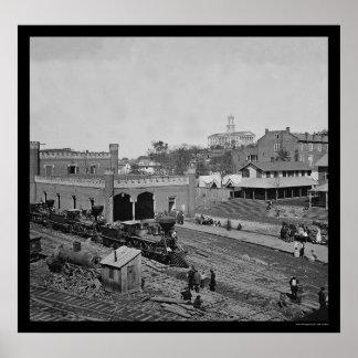 Railroad Yard and Depot in Nashville, TN 1864 Poster