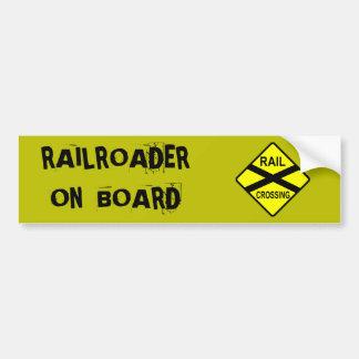 Railroader a bordo pegatina de parachoque