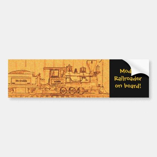 Railroader modelo a bordo etiqueta de parachoque